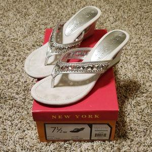 New York rhinestone wedge sandal